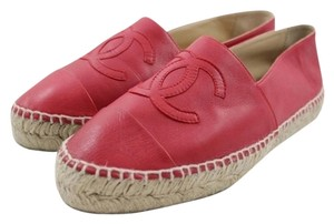 Chanel Espadrilles Slip On Cc Red Flats