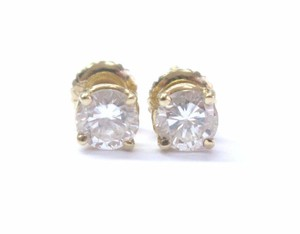 Fine Round Cut Diamond Stud Yellow Gold Earrings Screw Back .90ct F-vvs2 14kt