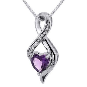 Jewelry For Less Diamond Created Amethyst Heart 10k White Gold Infinity Pendant W Chain 0.81 Tcw