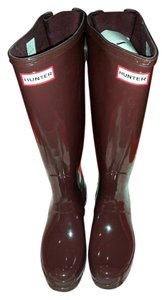 Hunter Gloss Finish Burgundy Boots