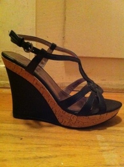 Charles by Charles David Lustre Faux-leather With Cork Black Wedges