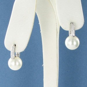Mikimoto Mikimoto Earrings 10mm White South Sea Pearls 0.28cts Diamond 18k Wg