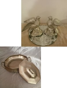 Champagne Love Birds & Vintage Tureen - Many Uses!