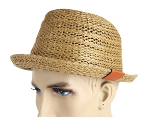 Gucci New Gucci Brown Straw Fedora Hat w/Trademark Logo Size M 337801 9679