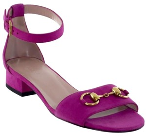 Gucci 338776 Womens Suede Bright Bouganville Sandals