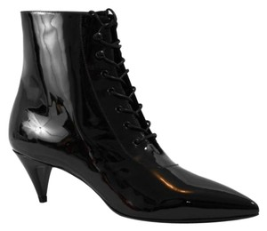 Saint Laurent Ysl 351930 Patent Leather Cat Black Boots