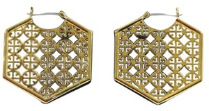 Tory Burch Tory Burch Perforated Logo Hoop Earrings Gold