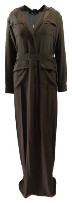 Item - 336218 Womens Velted Long Maxi Dress Gown Brown 40g