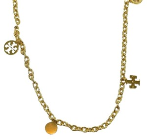Tory Burch Tory Burch Logo Charm Rosary Necklace, Gold