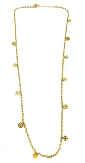 Tory Burch NEW Tory Burch Logo Charm Rosary Necklace, Gold Image 7