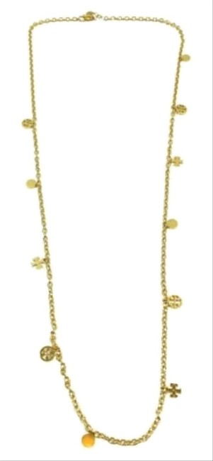 Tory Burch Gold New Logo Charm Rosary Necklace Tory Burch Gold New Logo Charm Rosary Necklace Image 1
