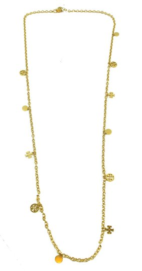Tory Burch NEW Tory Burch Logo Charm Rosary Necklace, Gold Image 10