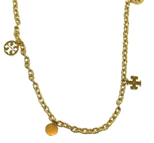 Tory Burch NEW Tory Burch Logo Charm Rosary Necklace, Gold Image 11
