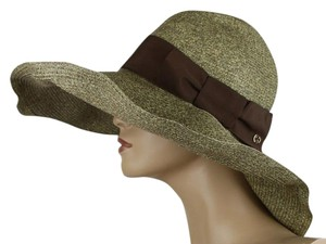 Gucci $435 New Gucci Women's Brown Straw Havana Hat w/Bow Size S 309138 2576