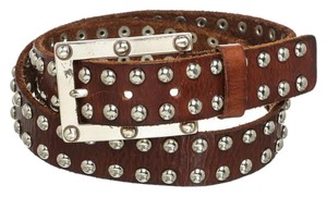 MICHAEL Michael Kors Michael Michael Kors Brown Leather Silver Stud Belt (Size M)