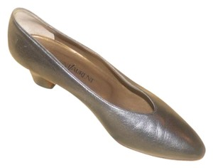 Saint Laurent Dressy Or Casual Made By Ysl Excellent Condition Almond Shape Toes Kitten Heels Silver/Pewter Pumps