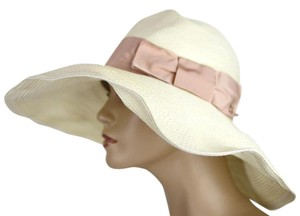 Gucci $435 New Women's White Straw Havana Hat w/Pink Bow Size M 309138 9581