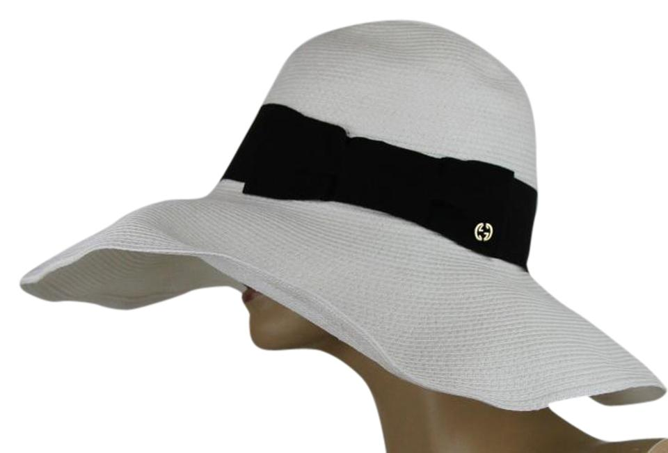 375bf882 ... Logo Size M Gucci Straw Hat: Gucci Women's Straw Havana Hat W/Black Bow  309138 White ...