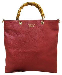 Gucci Red Bamboo Tote Satchel in Oxblood red