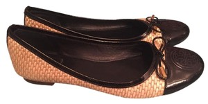 Tory Burch Woven Straw Reva Ballet Bow tan & black Flats