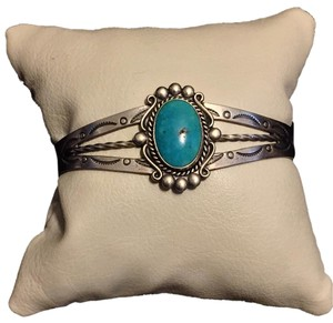 Bell Bell Trading Post Fred Harvey Era Sterling Silver And Turquoise Cuff