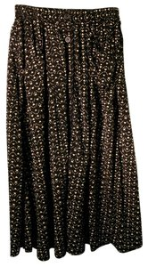 American Apparel Aa Pockets Button Up Maxi Maxi Skirt Patterned Black