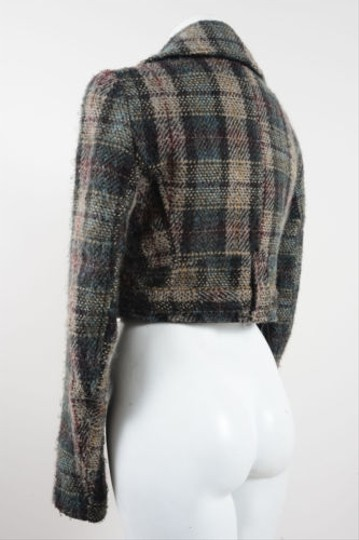 33bc9d942 Hugo Boss Boss Green Beige Multicolor Plaid Tweed Cropped Jacket delicate