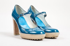 Tod's Tods Teal Patent Leather Blue Pumps