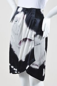 Max Mara Black Violet White Silk Feathered Print Pleated High Low Hem Wrap Skirt Multi-Color