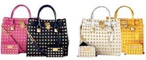 Michael Kors Pyramid Studded Leather Tote in white