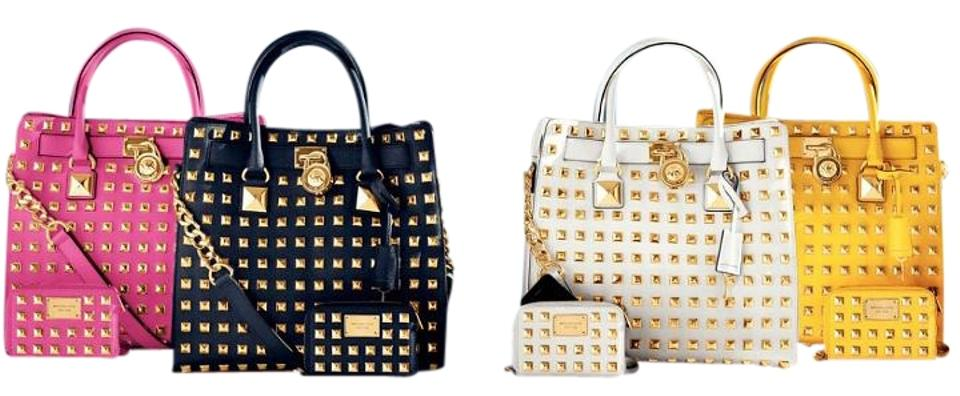 56bab7d84074 Michael Kors Pyramid Studded Leather Tote in white Image 0 ...