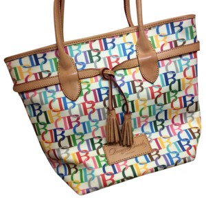 Dooney & Bourke Print Two-tone Leather Tote in Multicolored