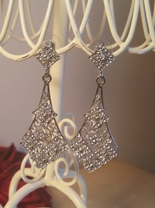 Rhinestone Silver Plated Dangle Pierced Earrings