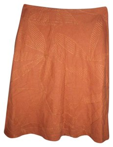 Christopher & Banks Linen Blend Emboirdered Skirt Orange & Tan