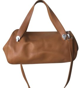 Enzo Angiolini Camel Color Slouchy Soft Leather Crossbody Satchel in Camel Brown