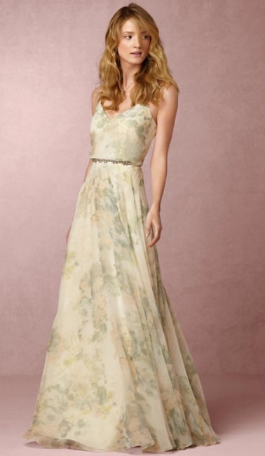 Item - Ivory Sage Multi Chiffon Inesse Formal Bridesmaid/Mob Dress Size 0 (XS)