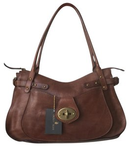 Paolo Masi Leather Gold Hardware Structured Pockets Shoulder Bag