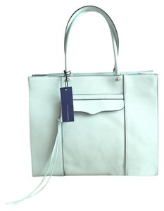 Rebecca Minkoff Leather Carryall Structured School Work Tote in Mint