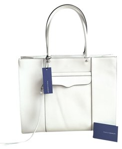 Rebecca Minkoff Leather Carryall Structured School Work Tote in White