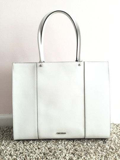 Rebecca Minkoff Leather Carryall Structured School Work Tote in White Image 1