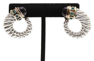 David Yurman David Yurman 14K Gold Sterling Silver Renaissance Cable Onyx Earrings
