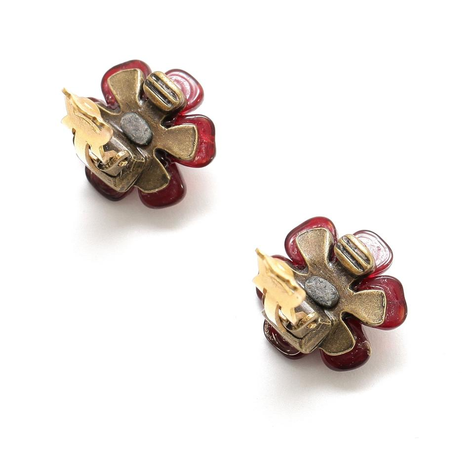 Chanel Garnet Vintage Gripoux Flower Pearl Gold Cc Clip On Earrings Tradesy