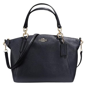 Coach Kelsey Pebbled Leather Satchel in Black