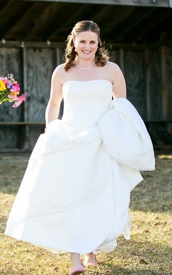 Maggie Sottero White Organza & Satin Pia Gown Traditional Wedding Dress Size 12 (L) Image 2