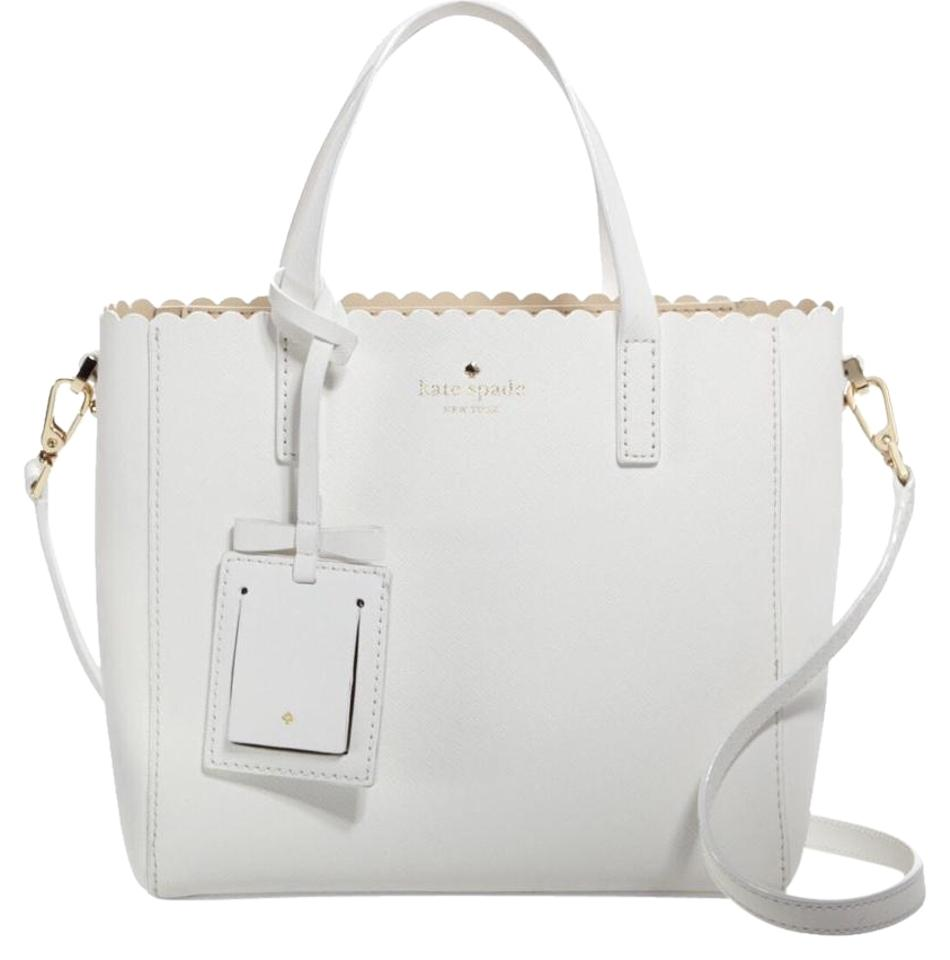 b6df583e3c93 Kate Spade Cape Drive Margy Scallop White Leather Cross Body Bag ...