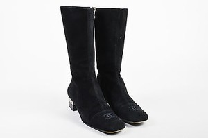 Chanel Suede Silver Tone Accent Heel Black Boots