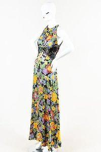 Multi-Color Maxi Dress by Geoffrey Beene Navy Gold