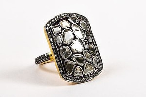 Other Sterling Silver 14k Gold Diamond Organic Cut Mosaic Cocktail Ring