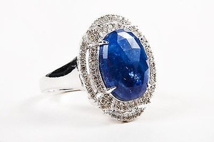 18k White Gold Blue Sapphire Pave Diamond Oval Cut Cocktail Ring