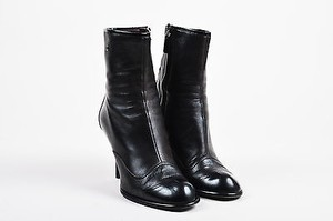 Chanel Leather Cap Toe Black Boots
